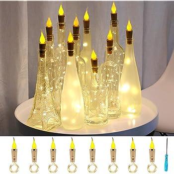 Murelan Flame Cork Lights, 8 Pack Wine Bottle Lights Battery Operated Lights,Christmas for Party,Christmas,Halloween,Wedding,DIY Decor - Warm White