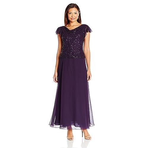 ceb17da382b J Kara Women s Short Sleeve Long All Over Beaded Dress Petite