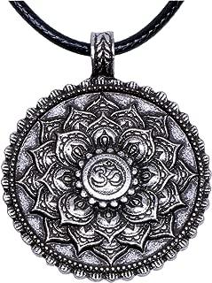 Yoga Inspired Om Lotus Mandala Necklace Pendant for Women Men Tibetan Buddhist Protection Jewelry