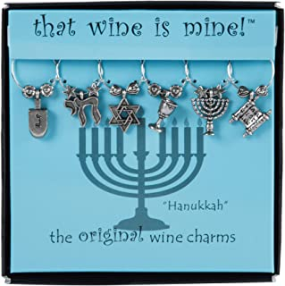 Hanukkah Wine Charms Set of 6