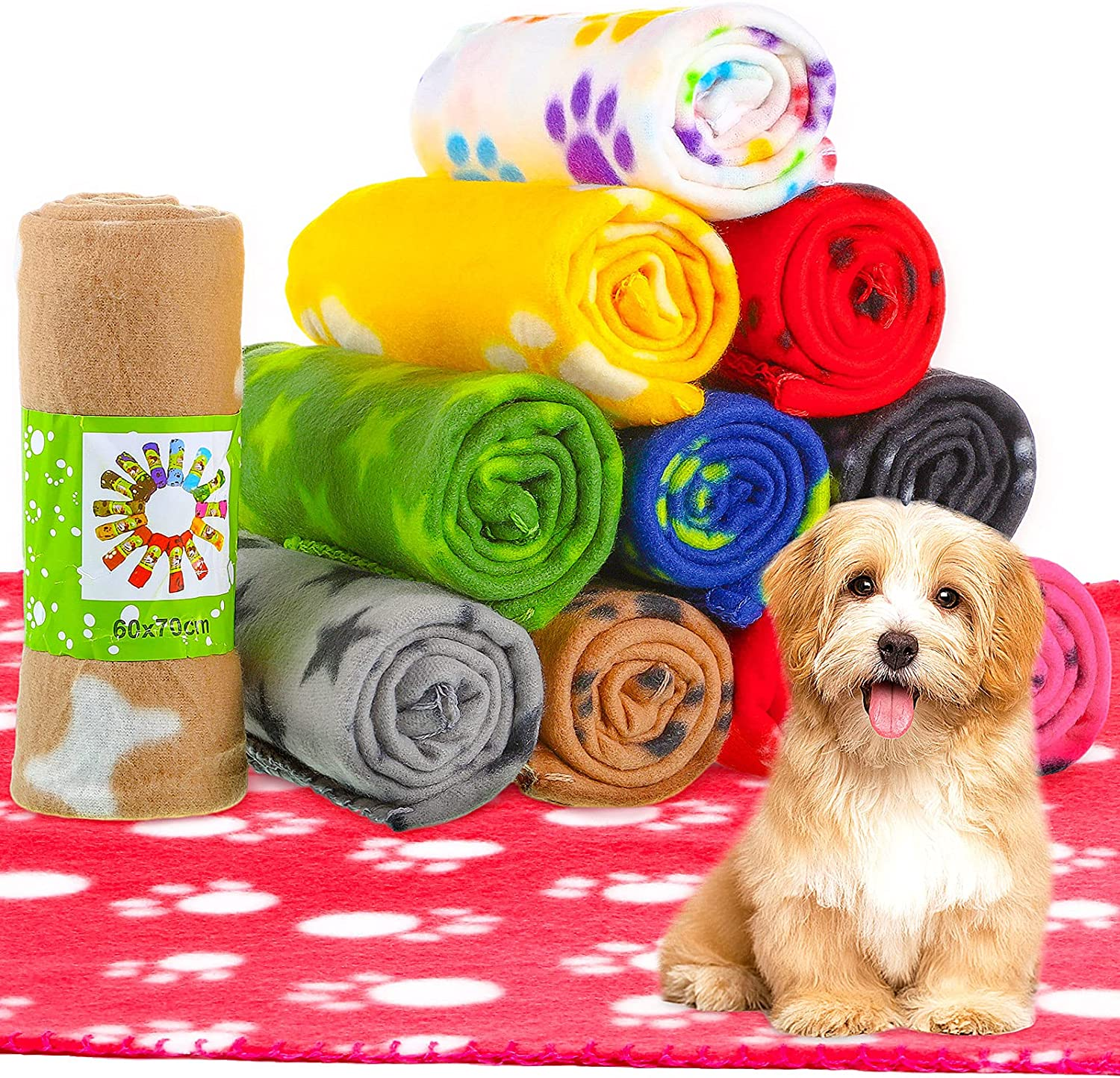 12 Pieces Dog Blanket Fleece Fabric Puppy Direct stock discount Cheap super special price Paw with Print