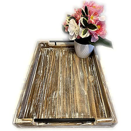 Amazon Com Rustic Wooden Picnic And Serving Tray Coffee Table Tray Home Decor More Spacious Than Most Trays Matte Black Handles Non Slip And Protective Pads Lightweight And Durable Serving Trays