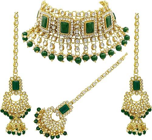 SAIYONI Bridal Gorgeous look Green Kundan Choker Necklace Set With Tikka For Women.