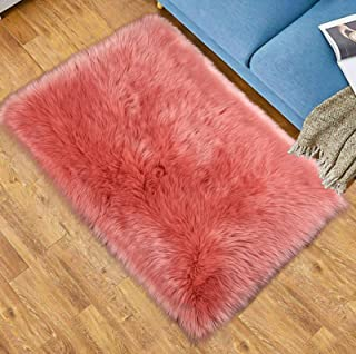 Softlife Faux Fur Sheepskin Area Rug Shaggy Wool Carpet for Bedroom Living Room Home Decor (2ft x 3ft Rectangle, Coral)