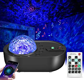 YanFeng Proyector de luz de estrella, proyector de luz de onda de agua y proyector de ondas oceánicas con 10 patrones de proyección, altavoz Bluetooth y temporizador y control remoto para partido