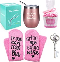 Wine Tumbler with Saying + Cupcake Wine Socks Gift Set,12 oz Stainless Steel Double Insulated Stemless Wine Glass with Lid and Straw + Key Bottle Opener, Funny Wine Gift for Women