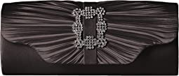 Jessica McClintock - Mary Satin Pleated Clutch with Brooch