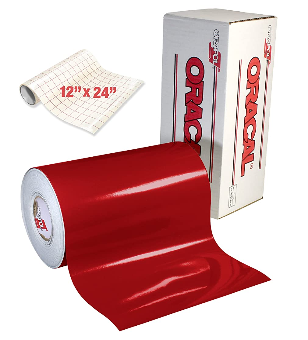 ORACAL 651 Gloss Dark Red Adhesive Craft Vinyl for Cameo, Cricut & Silhouette Including Free Roll of Clear Transfer Paper (30ft x 12