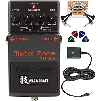 BOSS MT-2W Waza Craft Metal Zone Distortion Pedal Bundle with Blucoil Slim 9V Power Supply AC Adapter, 2-Pack of Pedal Patch Cables, and 4-Pack of Celluloid Guitar Picks
