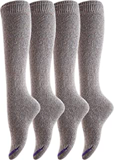 Lovely Annie Women's 4 Pairs Pack Knee High Cotton Boot Socks 6-9(Gray)