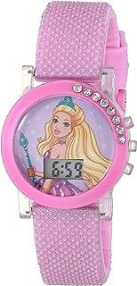 Barbie Girls' Quartz Watch with Plastic Strap, Pink, 13 (Model: BDT4001AZ)