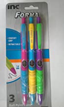 Forma Ball Point Retractable Black Ink W/Multi Colored Barrel 1 Pack Of 3