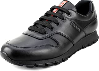 035fe04cf44c00 Prada Men's Vitello Plume Leather Trainer Sneakers, Nero (Black) 4E3363