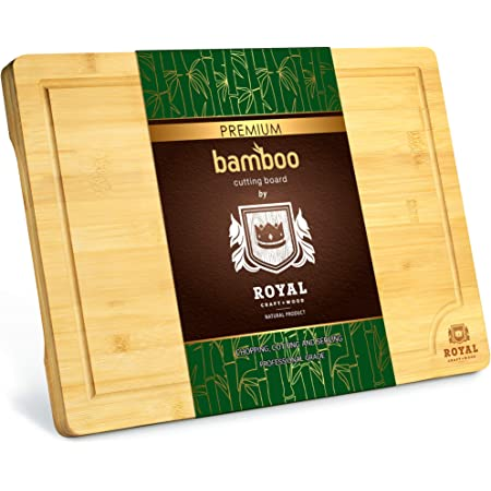"""Extra Large Organic Bamboo Cutting Board with Juice Groove - Kitchen Chopping Board for Meat (Butcher Block) Cheese and Vegetables (XL 18 x 12"""")"""