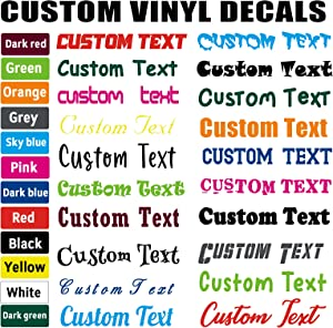 Custom Vinyl Sticker Decals Design Your Own Name,20 Fonts,12 Colors,Multi Sizes,Personalized Vinyl Letter Stickers for Cars, Walls, Window, Windshield, Tumblers, Trucks, Cups, Water Bottles