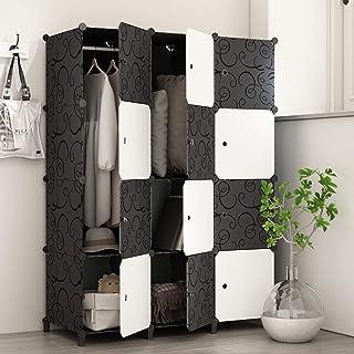PREMAG Armoire Portable DIY, Penderie avec Portes, Tige Suspendue, Construction Solide pour Vêtements, Chaussures, Accesso...