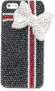 【Happy Smile】OPPO Reno A スマホ デコ ケース カバー プラスチック ストーン 保護フィルム付 きらきら ブラック リボン プレゼント