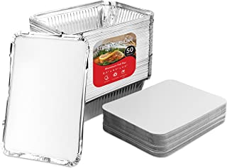 Aluminum Pans Take Out Containers with Lids (50 Pack) 2 Lb Disposable Aluminum Foil Oblong Pans with Cardboard Covers - To Go Food Storage Containers for Baking, Meal Prep, Takeout and Freezer