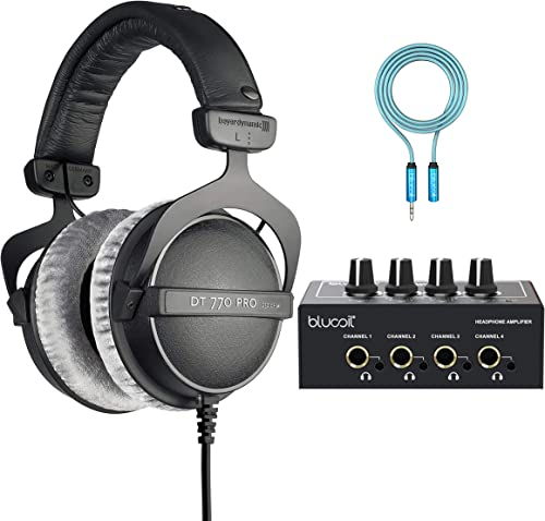 wholesale Beyerdynamic DT 770 PRO 250 Ohm Over-Ear Studio Headphones for wholesale Professional Studio Mixing Consoles and Audio Interfaces Bundle high quality with Blucoil 4-Channel Headphone Amplifier, and 6' 3.5mm Extension Cable online