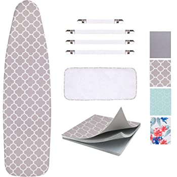 "SUNKLOOF Scorch Resistance Ironing Board Cover and Pad Resists Scorching and Staining Ironing Board Cover with Elasticized Edges and Pad 15""x54"" 4 Fasteners and 1 Large Protective Scorch Mesh Cloth"