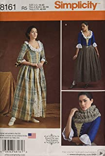 Simplicity 8161 Women's 18th Century Dress Historical Costume Sewing Pattern, Sizes 14-22