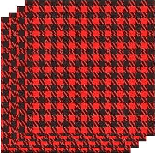 Aneco 12 x 12 Inch Cloth Fabric Iron-on Buffalo Plaid 4 Sheet Red and Black Plaid Heat Transfer Sheets Adhesive Thermal Transfer