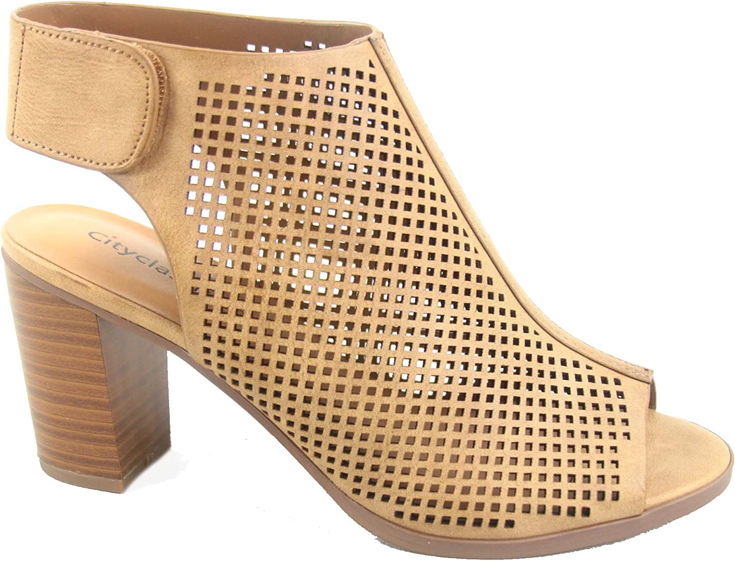 City Classified Roadway-s Women's Sexy Peep Toe Perforated Chunky Heel Sandals shoes