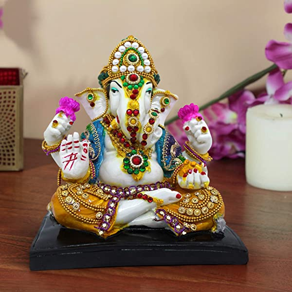 TiedRibbons Ganesha Statue 30 Cm X 16 Cm X 9 Cm Resin Indian God Ganesh Figurine For Home Mandir Desktop Office Diwali Decoration And Gifts