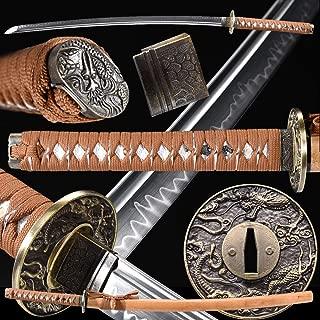 Eroton-1045/1060/1095/T10High Carbon Steel Heat Tempered/Clay Tempered, Full Handmade Real Japanese Samurai Katana Sword, Dragon Tsuba,Full Tang,Functional Practical Sharp, Razor Sharp,Battle Ready…