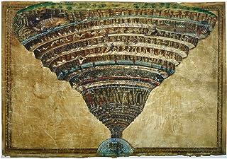 Spiffing Prints Sandro Botticelli - La Carte de l'Enfer World Map - Medium - Semi Gloss - Unframed