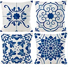 Guhoo Geometric Blue Flower Decorative Throw Pillow Covers 18 x 18 Inch, Set of 4 Abstract Blue Flower Cushion Cover Squar...