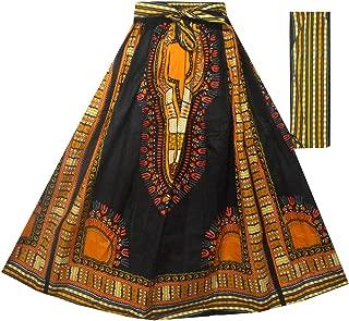 Decoraapparel Women's African Dashiki Maxi Skirt Long High Waist Skirt One Size