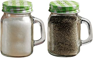 Circleware Yorkshire Mason Jar Mug Glass Salt and Pepper Shakers with Glass Handles and Green & Lids, Set of 2, 5 oz, Clear