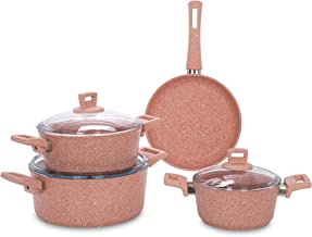 Alberto Granite Cookware Set 7 Pieces Pinkstone 100084201