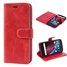 Mulbess Moto G4 Protective Cover, Magnetic Closure RFID Blocking Luxury Flip Folio Leather Wallet Phone Case with Card Slots and Kickstand for Motorola Moto G4 / G4 Plus, Wine Red