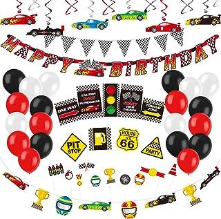 تزیینات مهمانی مخصوص اتومبیلرانی مسابقه Decorlife برای پسران ، وسایل مهمانی جشن تولد اتومبیل های مسابقه ای ، شامل پارچه پرچم شطرنجی ، چرخش های معلق ، بالابرهای کیک کوچک ، غرفه های عکس ، بالن های لاتکس ، بالن فویلی ، علائم راهنمایی ، گردنبند اتومبیلرانی ، بنر تولدت مبارک - مجموع 71 عدد