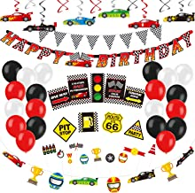 Decorlife Race Car Party Decorations for Boys, Racing Car Birthday Party Supplies, Including Checkered Flag Bunting, Hangi...