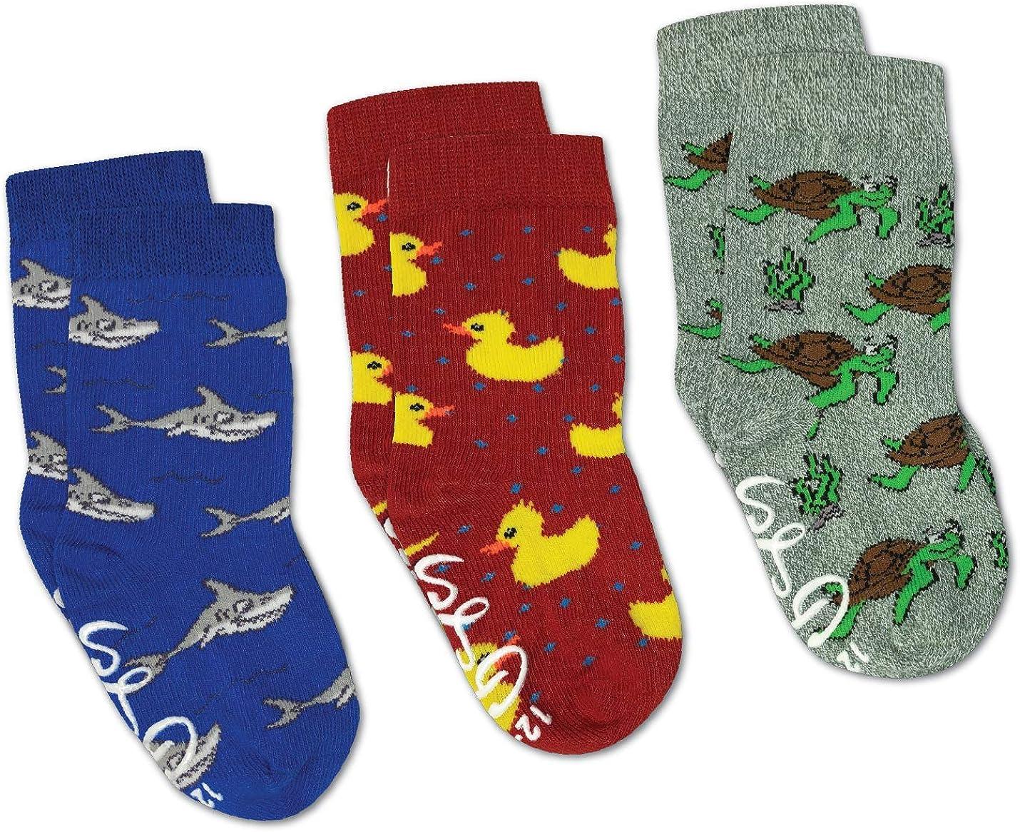Rubber Ducks, Sharks and Turtles Kids Toddler Socks, 3-Pack