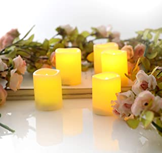 6 Pack Flickering Battery Operated LED Votive Tealight Candles with Timer Realistic Flameless Electric Electrical Tea Lights Set for The Black Friday Christmas Wedding Decorations Batteries Incl.
