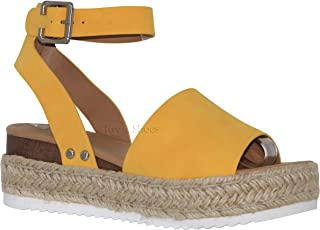 cd83aa38e7e MVE Shoes Women s Stylish Platform Strappy Closed Toe Espadrille Sandal
