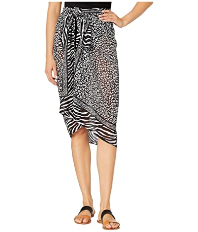 MICHAEL Michael Kors Animal Blend Pareo Cover-Up (Black Multi) Women