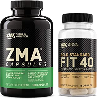 OPTIMUM NUTRITION ZMA, Zinc for Men and Women, Zinc and Magnesium Supplement & Gold Standard FIT 40 Collagen, Vitamin C an...