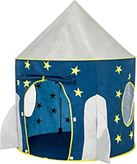 Best FoxPrint Rocket Ship Tent - Space Themed Pretend Play Tent - Space Play House - Spaceship Tent For Kids - Foldable Pop Up Star Play Tent Blue Reviews