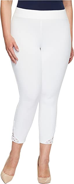 HUE - Plus Size Wide Waistband Lace Trim Pique Capris