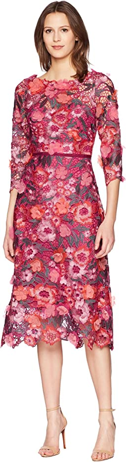 Marchesa Notte - 3/4 Length Sleeve 3D Floral Guipure Lace Tea Length Cocktail Dress