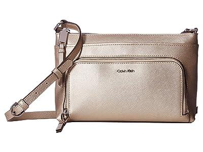 Calvin Klein Key Item Saffiano Leather Top Zip Crossbody (Buckwheat) Cross Body Handbags