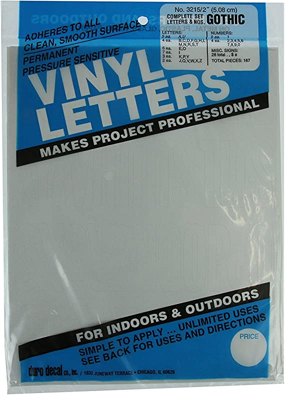 5 Characters 2 inch 50mm high Self-adhesive vinyl stick on letters /& numbers