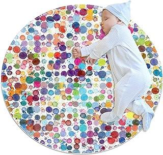 Färgcirkel, barn rund matta polyester soffområde matta mjuk pedagogisk tvättbar matta barnkammare tipi tält lekmatta