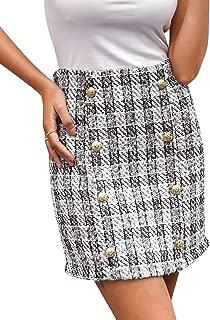 Women's High Waist Plaid Bodycon Mini Pencil Skirt