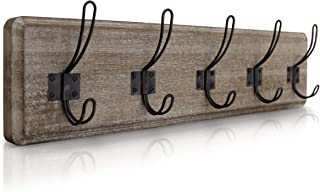 HBCY Creations Rustic Coat Rack - Wall Mounted Brown Wooden 24